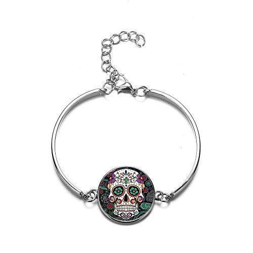 Pulseras bohemias de cristal con calavera de azúcar para mujeres y hombres, joyería de moda Día de la Muerte Mexicana Cultura Tradicional Pulseras
