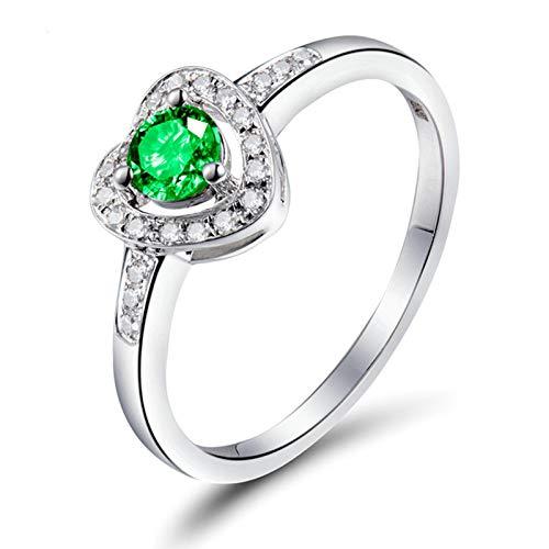 AnazoZ Anillo Tsavorita MujerAnillo para Mujer Oro Blanco 18 Kilates Plata Verde Corazón con Redondo Tsavorita Verde 0.45ct Diamante 0.09ct Talla 8