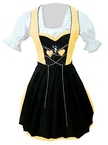 Di04gs Mini Dirndl, 3 teiliges Trachtenkleid in schwarz gelb weiß, Kleid mit Bluse und Schürze, Rocklänge 47-56 cm, Gr. 36