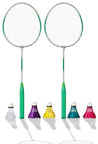 Shopping Hero Federball Basic Set 7-teilig, Ultraleichte Federballschläger 62cm, Schlagfläche ca 23x20cm, Kunststoff Federball, 4 Badminton Bälle mit echten Federn, für Kinder + Erwachsene!(Grün)