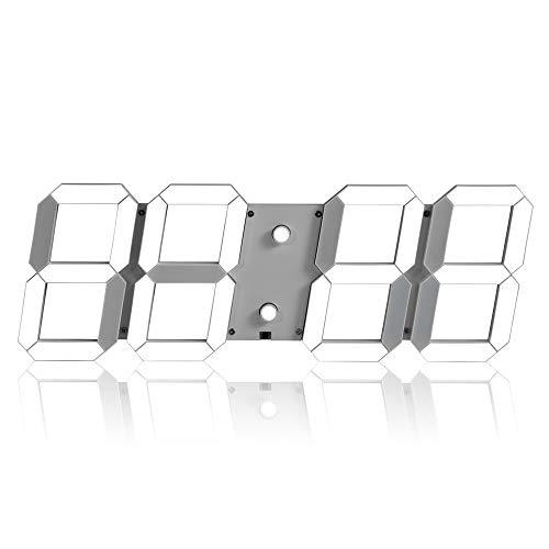 Luyshts Simple Oficina Creativa Creative Alarm Clock Multifunción 3D Estéreo Digital LED Reloj De Pared Control Remoto Reloj Fotosensible (Color : White)