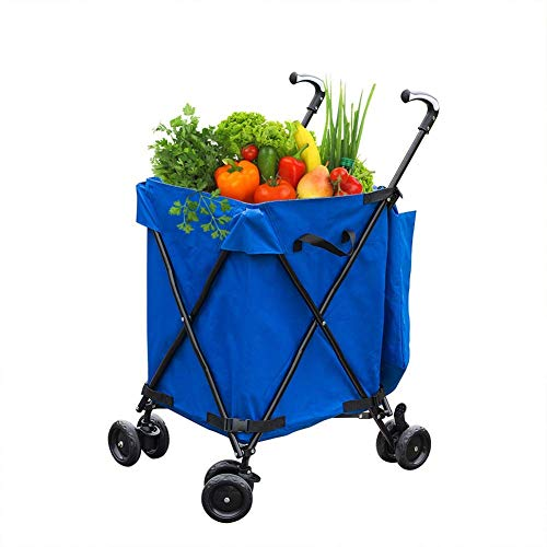 LLSS Lightweight Shopping Trolley Folding 8 Wheel Large Capacity Shopper Wear-Resistant Noiseless 360°Rotate Wheel & Adjustable Aluminum Alloy Handle Folding Boot Cart,Blue