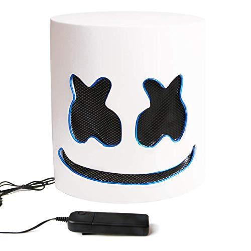 Marshmello Helmet DJ Mask Full Head Mask LED Helmets Music Festival Halloween Mask EVA Material for Men Kids White
