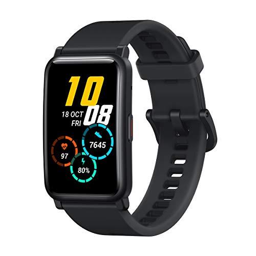 HONOR Watch ES Smartwatch mit Blutsauerstoff und Herzfrequenz Fitness Tracker Uhr, 95 Trainingsmodus 1.64'' AMOLED 5ATM Wasserdicht, Fitnessuhr Sportuhr Damen Uhr,Schwarz, HES-B09