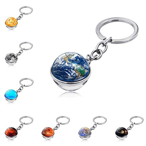 Chaveiro Stobok para pendurar com gema 5 peças, chaveiro de escola de astronomia para ensino de planeta, chaveiro para pendurar, chaveiro, pingente, decoração de chaveiro para pendurar por você mesmo - padrão misto