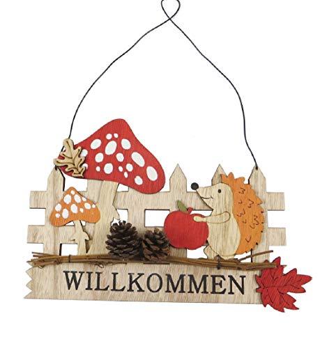 Decpero Herbstlicher Dekohänger Willkommen mit Igel, Pilzen, Herbstlaub / 24x28cm