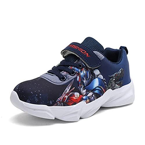 Xyh723 Sneakers per Bambini Captain America Scarpe Sportive Ragazzi Outdoor Fashion Trainers Bambino 3D Superhero da Corsa da Calcio da Trekking per Adolescenti,Blue-34/22CM