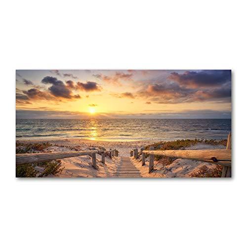Tulup Impresión en Vidrio - 140x70cm - Cuadro Pintura en Vidrio - Cuadro en Vidrio Cristal Impresiones - Paisaje - Amarillo - Camino de Acceso a la Playa
