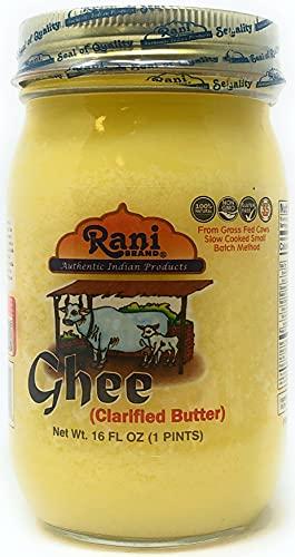 Rani Ghee puro y natural de vacas alimentadas con pasto (mantequilla clarificada) 1 libra (16 oz) ~...