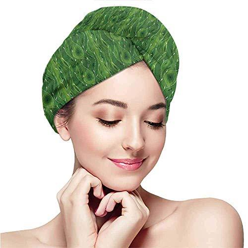 Xarchy Bonnet pour Cheveux secs, Vert, Retro Spring Abstract