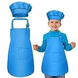 WELLXUNK Bambini Grembiule e Cappello da Cuoco, Grembiuli per Bambini Regolabile con 2 Tasche per Ragazze Ragazzi, Bambino Grembiule da Cucina per Pittura Cottura Cucinare Artigianato - Blu