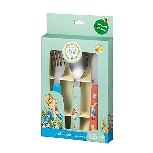 Petit Jour Paris Peter Rabbit Set de 3 couverts pour enfant - Cuillère pour enfant - Fourchette - Couteau pour bébé - Couverts pour Pâques à partir de 1 an - Plastique sans BPA - Acier inoxydable