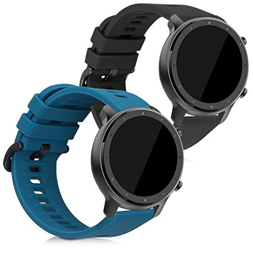 kwmobile Bracelet Compatible avec Xiaomi Huami Amazfit GTR (47mm) / GTR 2 - Set 2X Bracelet de Rechange en Silicone pour Fitness Tracker Noir-pétrole