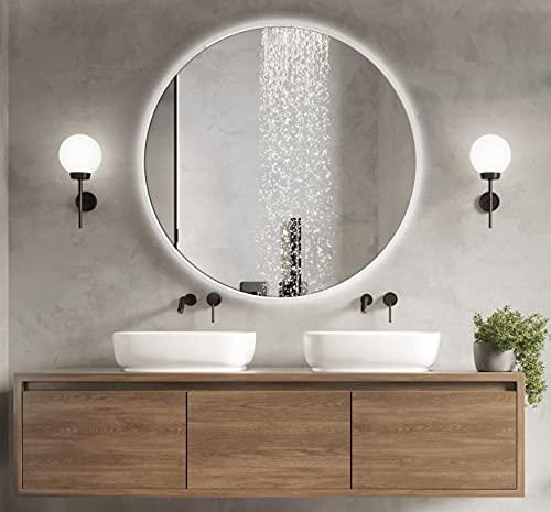 BD ART Espejo de Baño LED Luna 70 cm Redondo, Espejo de Pared paraBbaño con iluminación, Luz Blanca de Color frío 6000K, IP44