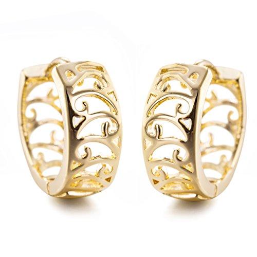 YAZILIND elegante dise?o simple chapado en oro aretes hueco peque?o aro para las mujeres