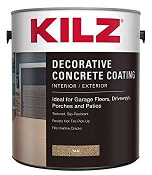KILZ L378601 Interior/Exterior Slip-Resistant Decorative Concrete Paint 1 Gallon Tan 128 Fl Oz