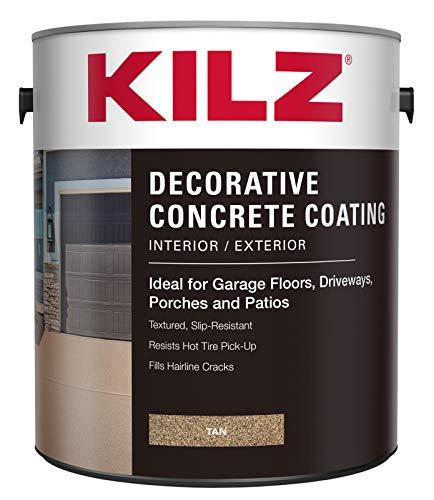 KILZ L378601 Interior/Exterior Slip-Resistant Decorative Concrete Paint, 1 Gallon, Tan, 128 Fl Oz
