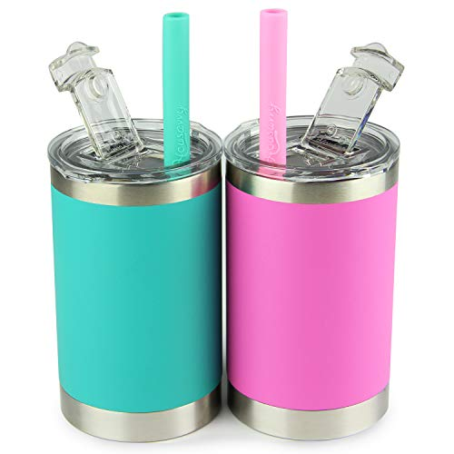 Housavvy Kids Cups with Straws and Lids,Vaccum Insulated Stainless Steel Toddler Sippy Cups with Smoothie Silicone Straw,BPA Free,Easy to Clean, 2 Pack of 11oz,Olive-Green/Hot-Pink