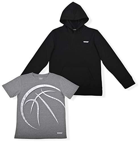 Hind Boys Active Sport Athletic Fleece Hoodie Sweatshirt and Basketball Performance Shirt 2-Piece set (Black, 8)