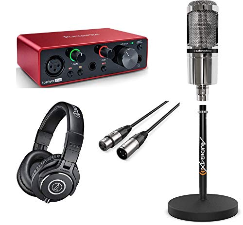Focusrite Pack Podcast and Youtuber Scarlett Solo 3rd Gen con Auricular AT2020V, Cable Soporte y Auricular