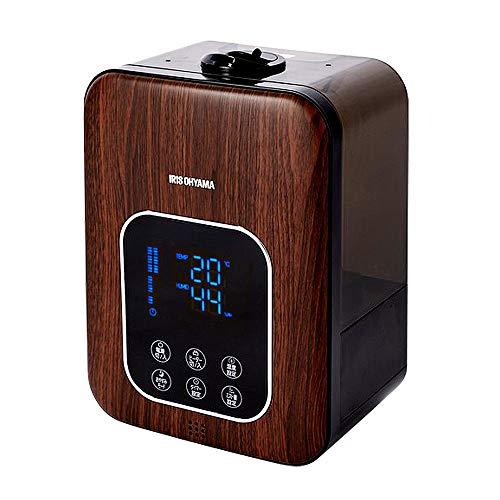 アイリスオーヤマハイブリッド式加湿器超音波式+加熱式リモコン付アロマオイル対応デジタル表示ミスト3段階湿度設定可切タイマー付大容量卓上木目ブラウンPH-UH35-MD