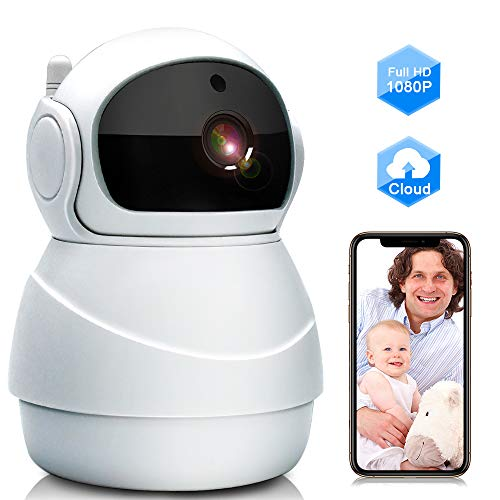 Baby Monitor, WiFi IP Camera 1080P Wireless Security Camera with Two Way Audio, Motion Detection and Cloud Storage Support 2.4G WiFi Night Vision Remote Surveillance Monitor for Home/Office/Shop Camera Cameras Dome Electronics Features Photo
