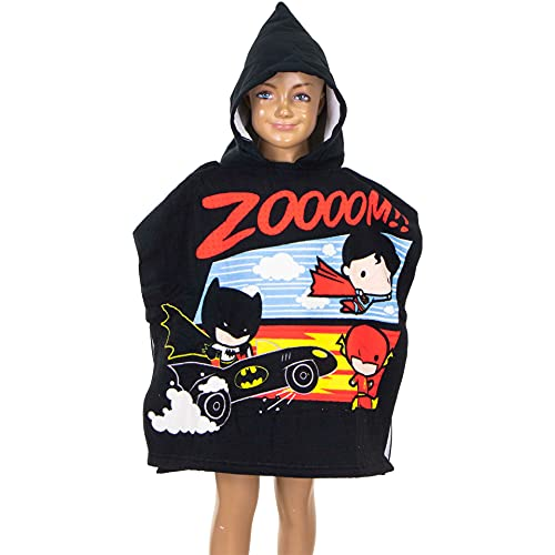 Poncho de baño para niños con capucha, 55 x 110 cm, varios diseños – Rey León, PJ Masks, Batman, Minnie Mouse, Cars, LOL Surprise, Top Wings, Sam Badepponcho (Batman)