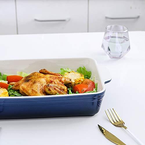 KOOV Bakeware Set, Ceramic Baking Dish Set, Rectangular Casserole Dish Set, lasagna Pan, Baking Pans Set for Cooking, Cake Dinner, Kitchen, 9 x 13 Inches, 3-Piece (Set of 3, Gradient Blue)