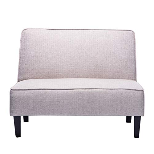 Cushioned Linen Armless Settee Loveseat Sofa Couch Home Casual Living Room Sleeper (Beige Pattern)