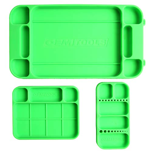 OEMTOOLS 22417 Flexi-Tray, 3 Piece Set, Includes Small, Medium, and Large Rubber Tool Mat Trays, Heat and Oil Resistant Silicone, Round-Bottom Compartments