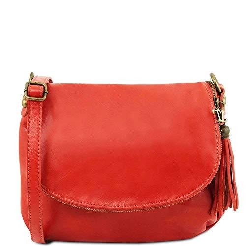 Tuscany Leather - TL Bag - Sac bandoulière besace en cuir souple avec pompon - Rouge Lipstick (TL141223)