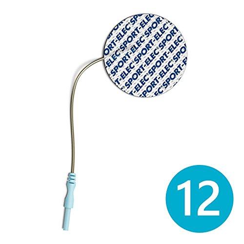 Sport-Elec - Electrodos redondos adhesivos (12 unidades, 50 mm), color azul y blanco