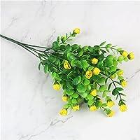 プリザーブドフラワー ウェディングホームパーティーの装飾のための鮮やかな偽の葉の花束と25headsミニバラの造花の絹の花 アートフラワー (Color : Yellow)