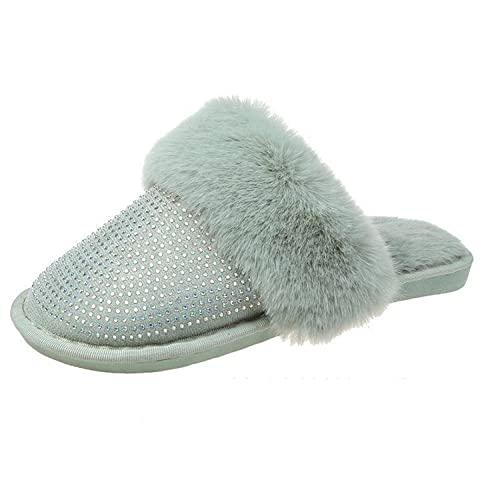 MQQM Felpa CóModo Pantuflas,Zapatillas cálidas y Ligeras, Zapatillas de algodón con Diamantes de imitación para el hogar-Verde_40,Invierno Cálido Pantuflas Memoria