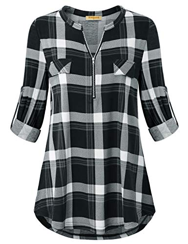 Baikea Tunic Shirts for Women Dressy, Black White Checked Plaid Top and Blouse Roll-Up Half Sleeve V Neck Classic Knit Banded Collar Shift Bottom Tunic Demolished with Zipper Black Plaid S