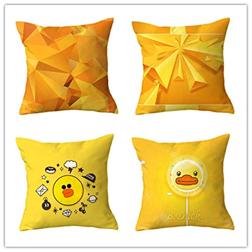 N / A Cushion Covers Fashion yellow geometry Square Decorative Printed Throw Pillow Case pack of 4 Pillowcases Art Decorative Perfect For Home Office Couch Livingroom,Super Soft(40x40cm/16x16inch)
