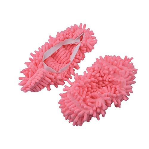VORCOOL Mikrofaser Hausschuhe Weich Waschbar Wiederverwendbare Mikrofaser Fußsocken Hausschuhe Schuhe für Badezimmer Büro Küche Hausreinigung Rosa
