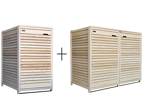 Lukadria Mülltonnenbox Mülltonnenverkleidung 3 Tonnen Mülltonnecontainer Holz Natur 120L - 240L vormontiert mit Rückwand Adr