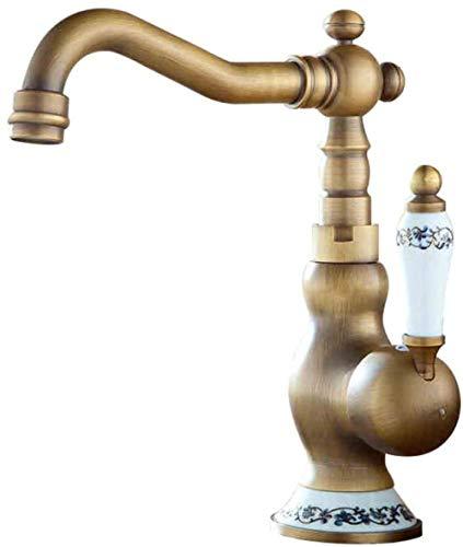 Grifo del lavabo del baño Grifo del fregadero de la cocina Latón Cobre antiguo Lavabo sobre encimera Porcelana azul y blanca Grifo caliente y frío Lavabo Lavabo Grifo giratorio