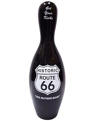ボーリングピン 貯金箱 ( ルート66 ) Bowling pin bank ボウリング ピン ROUTE66 黒 バンク バイク バンク レトロ 西海岸風 陶器 貯金箱 かっこいい かわいい インテリア おしゃれ 大きい アメリカン雑貨