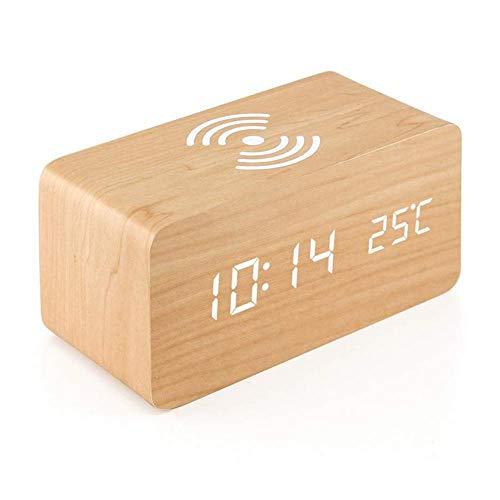 NXSP houten wekker met Qi Wireless Charging, houten LED digitale klok Sound Control functie