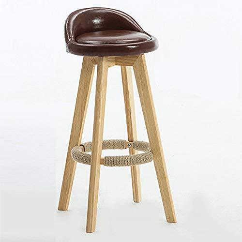 FYMDHB886 Barkruk Barstoel Hoge kruk Roterende ontbijtstoel Veelzijdig Houten lederen stoel (bruin + hout kleur plank), Size, A