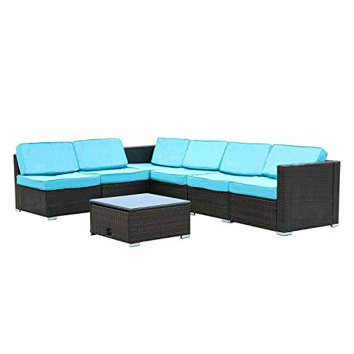 Golden789Shop 7PCS Outdoor Patio Sectional Furniture PE Wicker Rattan Sofa Set Cushioned Couch
