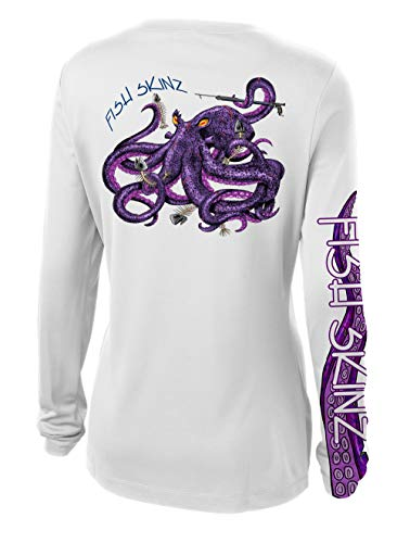 Fish Skinz Womens Performance Fishing Shirt UPF 50+ Protection, Octopus, White
