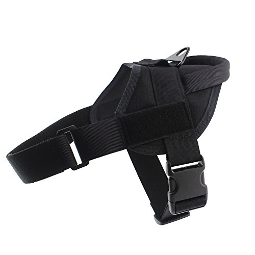 Yunlep Tactical K9 Dog Vest Harness Service Dog Vest Nylon Patrol Training Harness for Dog Outdoor Sports(L,Black