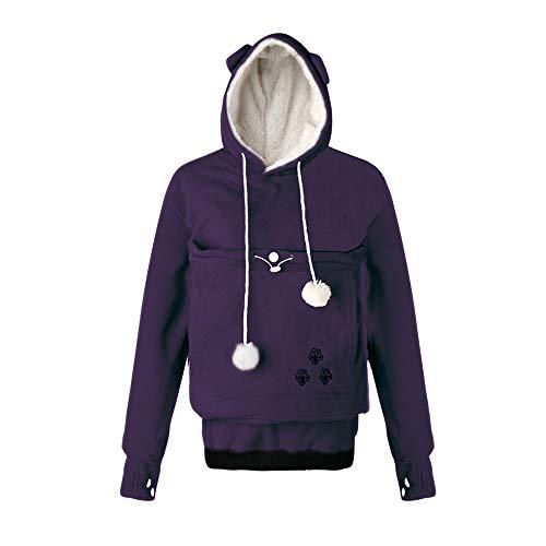 Women Hoodies, Pet Holder Cat Dog Large Pouch Carriers Pullover Fleece Sweatshirt with Soft Pet Pouch (Purple, Medium)