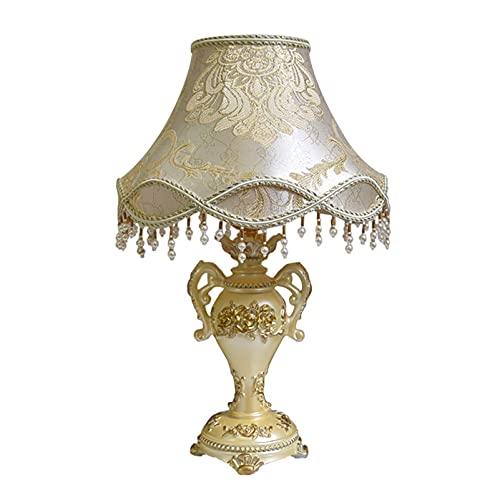 HJUYV-ERT Lámpara de mesilla de Noche, Exquisita Pantalla de Tela para Techo, lámpara de Mesa Creativa y romántica para decoración de Sala de Estar, portalámparas de Tornillo E27