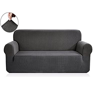 CHUN YI Jacquard Sofa Covers 1-Piece Polyester Spandex Fabric Slipcover (Loveseat, Gray)