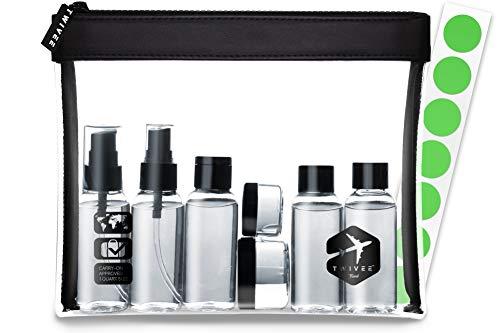 TWIVEE - Kulturbeutel transparent mit Reiseflaschen-Set - 1 Liter - Reiseset - Unisex - Travel Set transparent - Handgepäck Flüssigkeiten