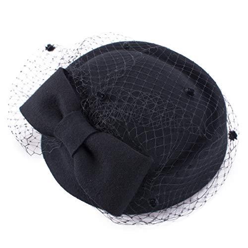 Lawliet - Tocado para mujer, diseño retro (velo de gala para boda y fiestas de cóctel con fieltro de lana)